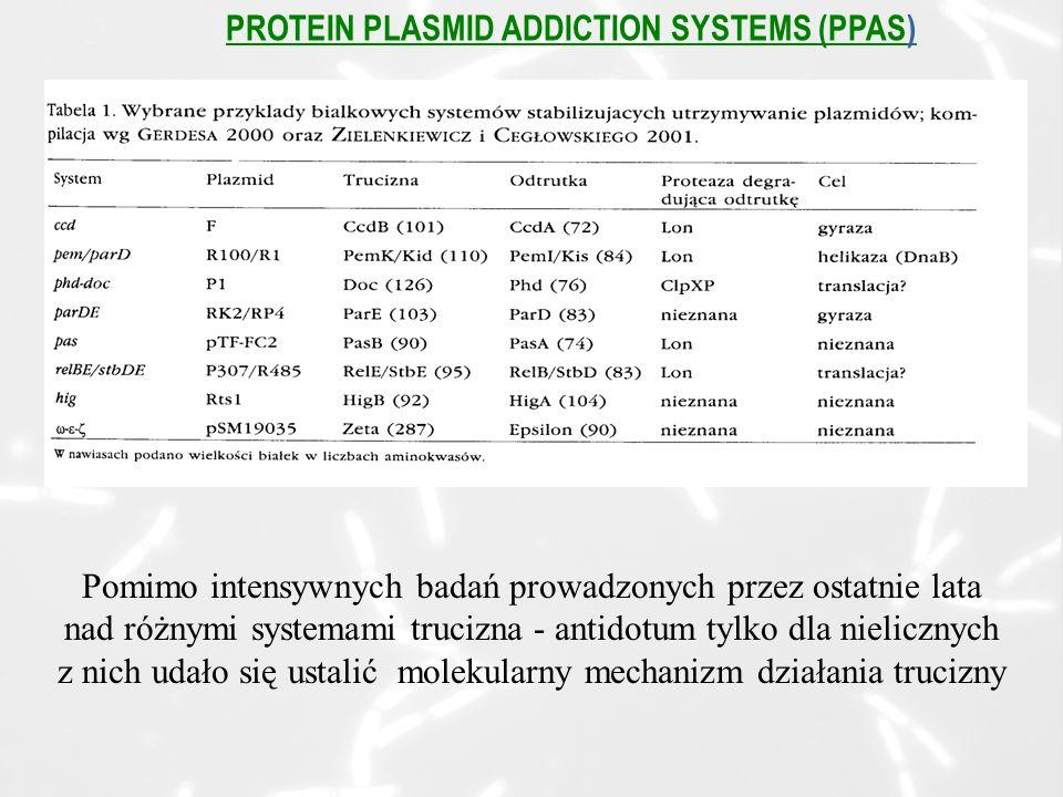 PROTEIN PLASMID ADDICTION SYSTEMS (PPAS) Pomimo intensywnych badań prowadzonych przez ostatnie lata nad różnymi systemami trucizna - antidotum tylko dla nielicznych z nich udało się ustalić molekularny mechanizm działania trucizny