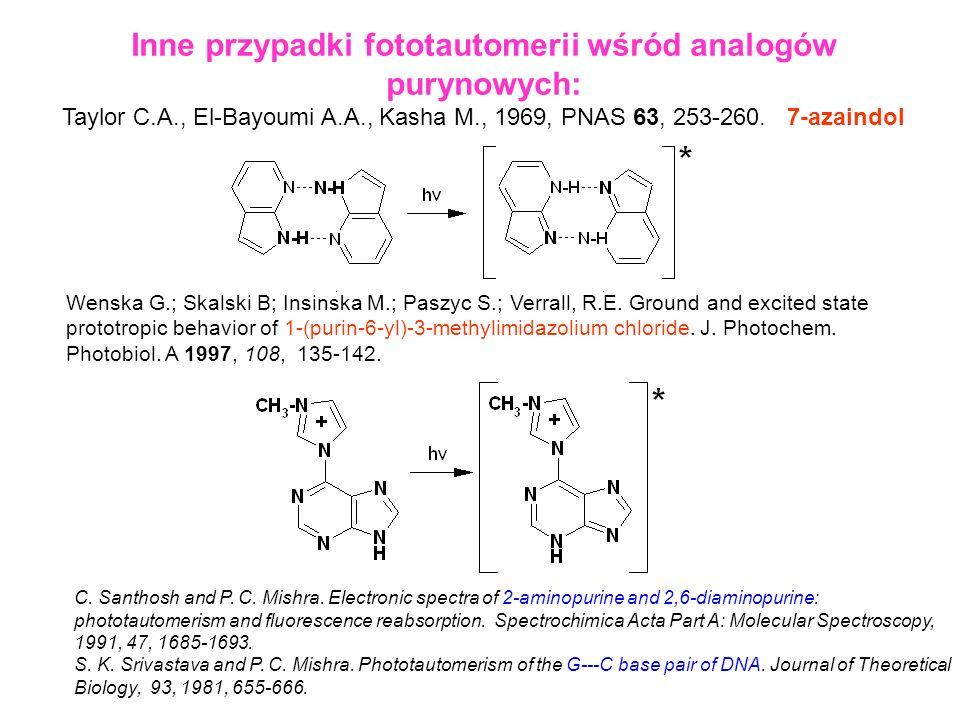 Inne przypadki fototautomerii wśród analogów purynowych: Taylor C.A., El-Bayoumi A.A., Kasha M., 1969, PNAS 63, 253-260. 7-azaindol Wenska G.; Skalski