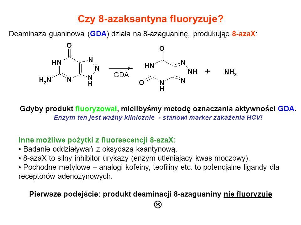 Czy 8-azaksantyna fluoryzuje? Deaminaza guaninowa (GDA) działa na 8-azaguaninę, produkując 8-azaX: Gdyby produkt fluoryzował, mielibyśmy metodę oznacz