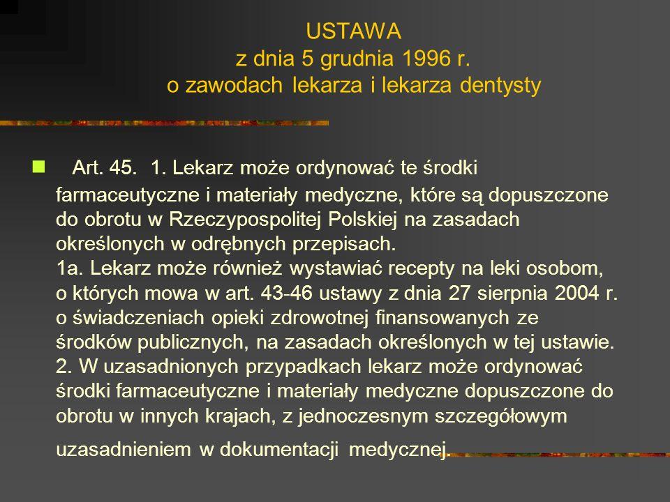 USTAWA z dnia 5 grudnia 1996 r. o zawodach lekarza i lekarza dentysty Art. 44. Lekarzowi, który wykonuje czynności w ramach świadczeń pomocy doraźnej