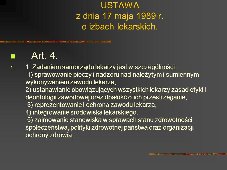USTAWA z dnia 17 maja 1989 r. o izbach lekarskich. Art. 1. 1. Tworzy się samorząd lekarzy i lekarzy dentystów, zwany dalej samorządem lekarzy. 2. Samo