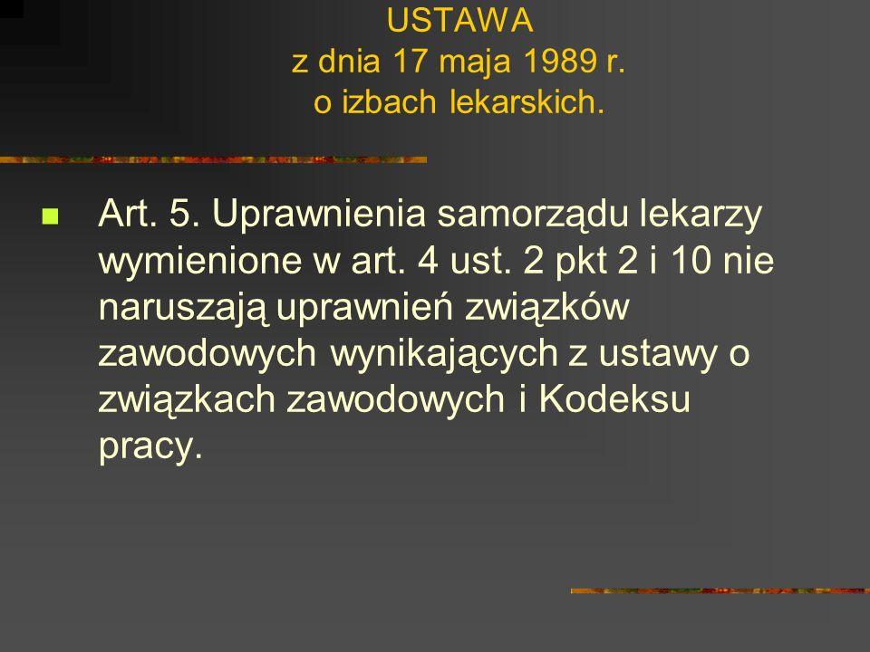 USTAWA z dnia 17 maja 1989 r. o izbach lekarskich. Art. 4. 1. 1. Zadaniem samorządu lekarzy jest w szczególności: 1) sprawowanie pieczy i nadzoru nad