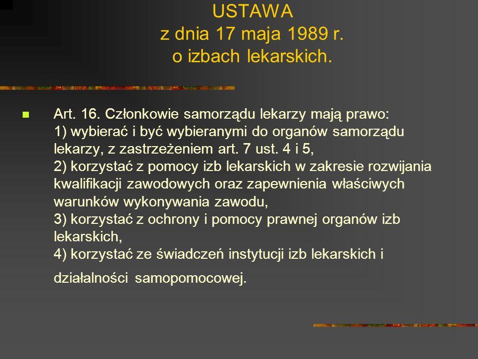 USTAWA z dnia 17 maja 1989 r. o izbach lekarskich. Art. 5. Uprawnienia samorządu lekarzy wymienione w art. 4 ust. 2 pkt 2 i 10 nie naruszają uprawnień