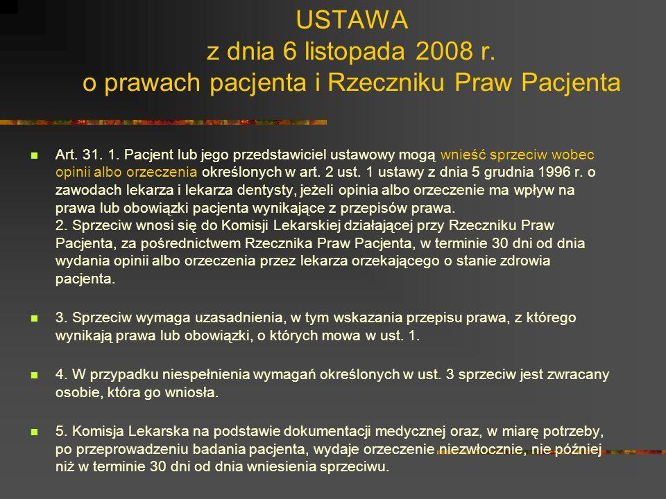 USTAWA z dnia 6 listopada 2008 r. o prawach pacjenta i Rzeczniku Praw Pacjenta Art. 23. 1. Pacjent ma prawo do dostępu do dokumentacji medycznej dotyc