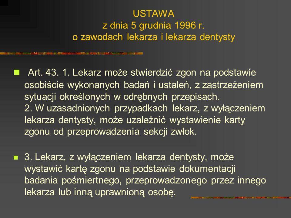 USTAWA z dnia 5 grudnia 1996 r. o zawodach lekarza i lekarza dentysty Art. 39. Lekarz może powstrzymać się od wykonania świadczeń zdrowotnych niezgodn