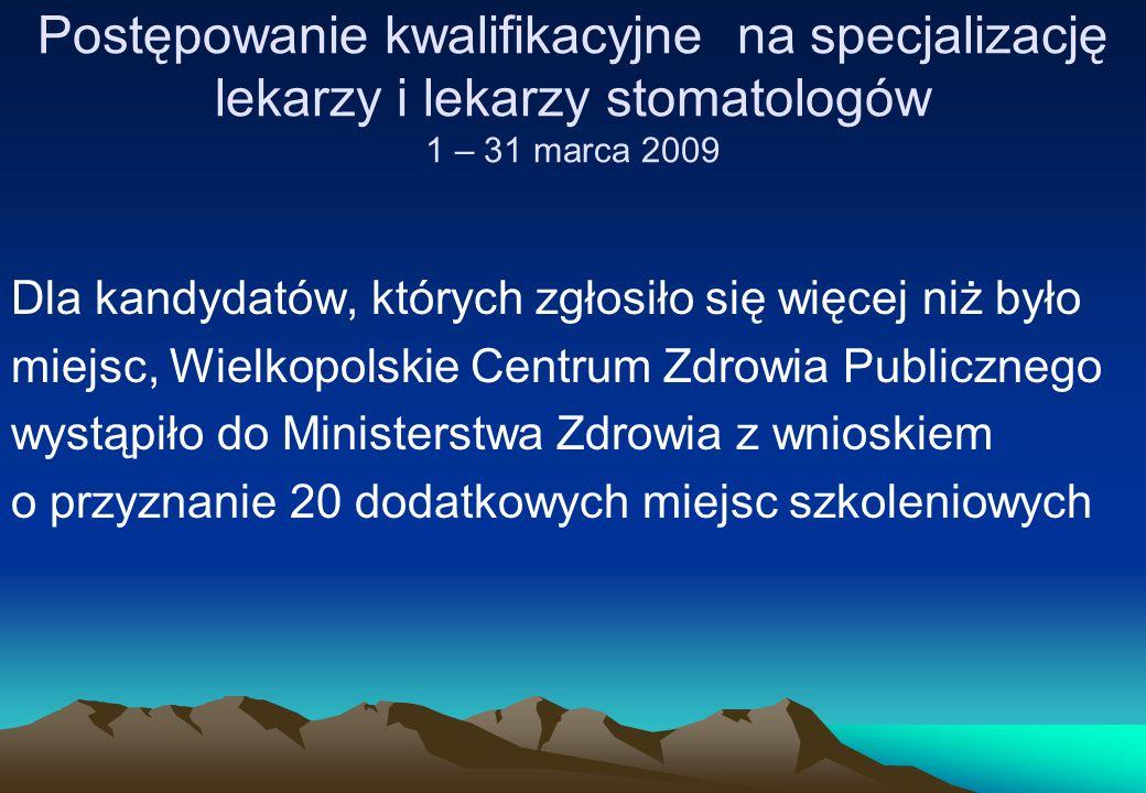 Postępowanie kwalifikacyjne na specjalizację lekarzy i lekarzy stomatologów 1 – 31 marca 2009 Dla kandydatów, których zgłosiło się więcej niż było mie