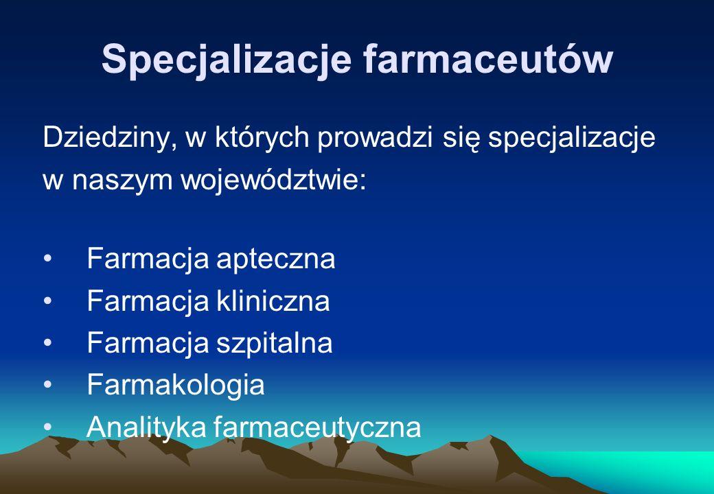 Specjalizacje farmaceutów Dziedziny, w których prowadzi się specjalizacje w naszym województwie: Farmacja apteczna Farmacja kliniczna Farmacja szpital