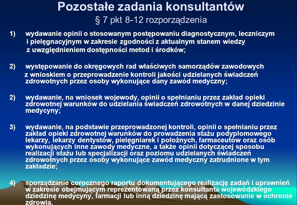 Pozostałe zadania konsultantów § 7 pkt 8-12 rozporządzenia 1)wydawanie opinii o stosowanym postępowaniu diagnostycznym, leczniczym i pielęgnacyjnym w