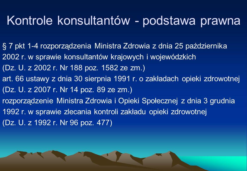 Kontrole konsultantów - podstawa prawna § 7 pkt 1-4 rozporządzenia Ministra Zdrowia z dnia 25 października 2002 r. w sprawie konsultantów krajowych i