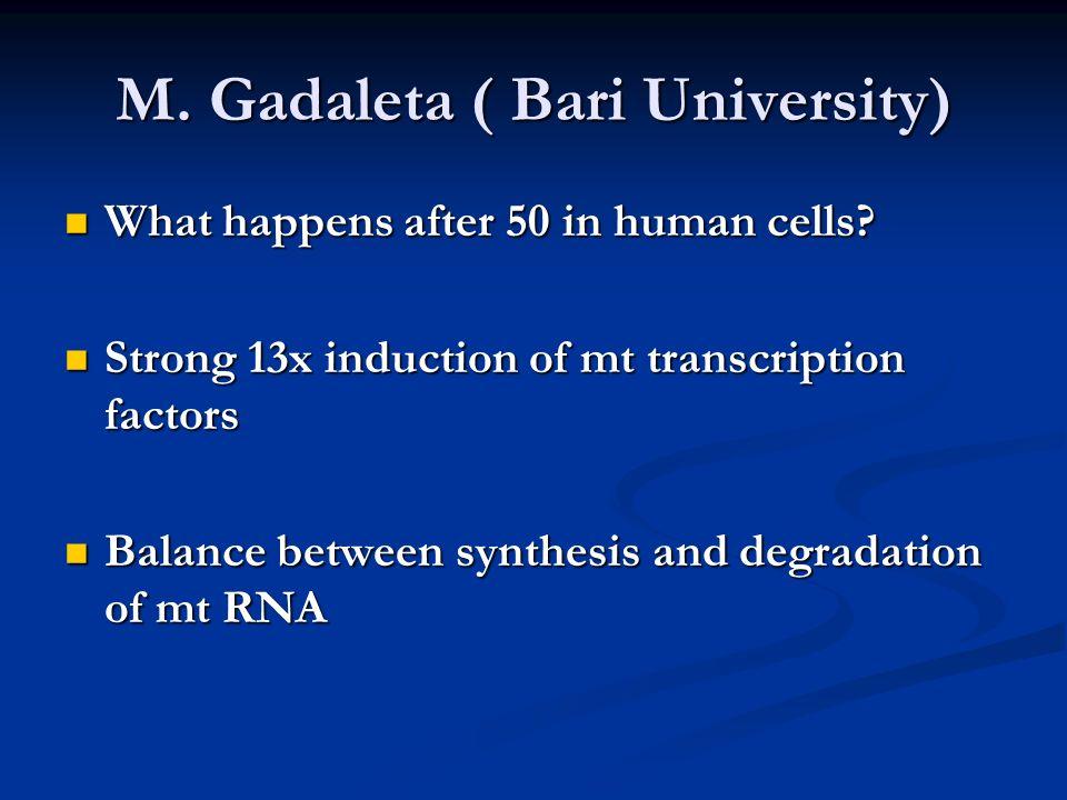 M. Gadaleta ( Bari University) What happens after 50 in human cells? What happens after 50 in human cells? Strong 13x induction of mt transcription fa
