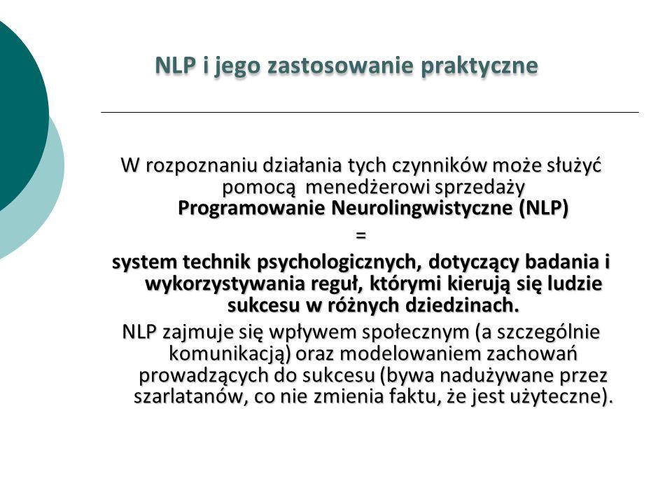 NLP i jego zastosowanie praktyczne W rozpoznaniu działania tych czynników może służyć pomocą menedżerowi sprzedaży Programowanie Neurolingwistyczne (N