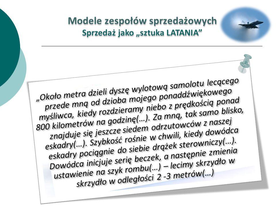 Modele zespołów sprzedażowych Sprzedaż jako sztuka LATANIA Modele zespołów sprzedażowych Sprzedaż jako sztuka LATANIA