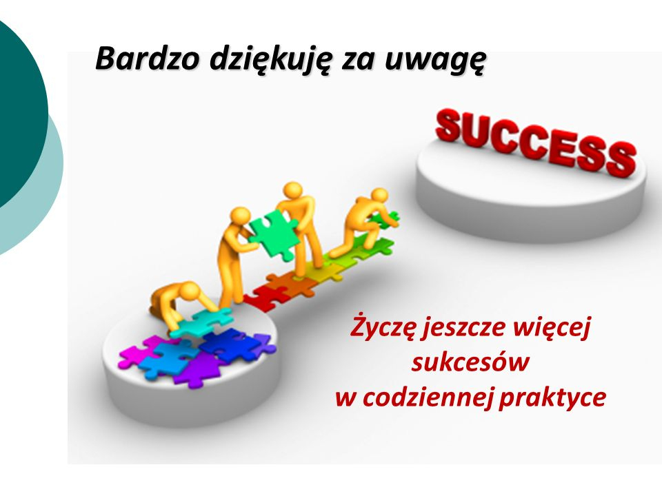 Bardzo dziękuję za uwagę Życzę jeszcze więcej sukcesów w codziennej praktyce