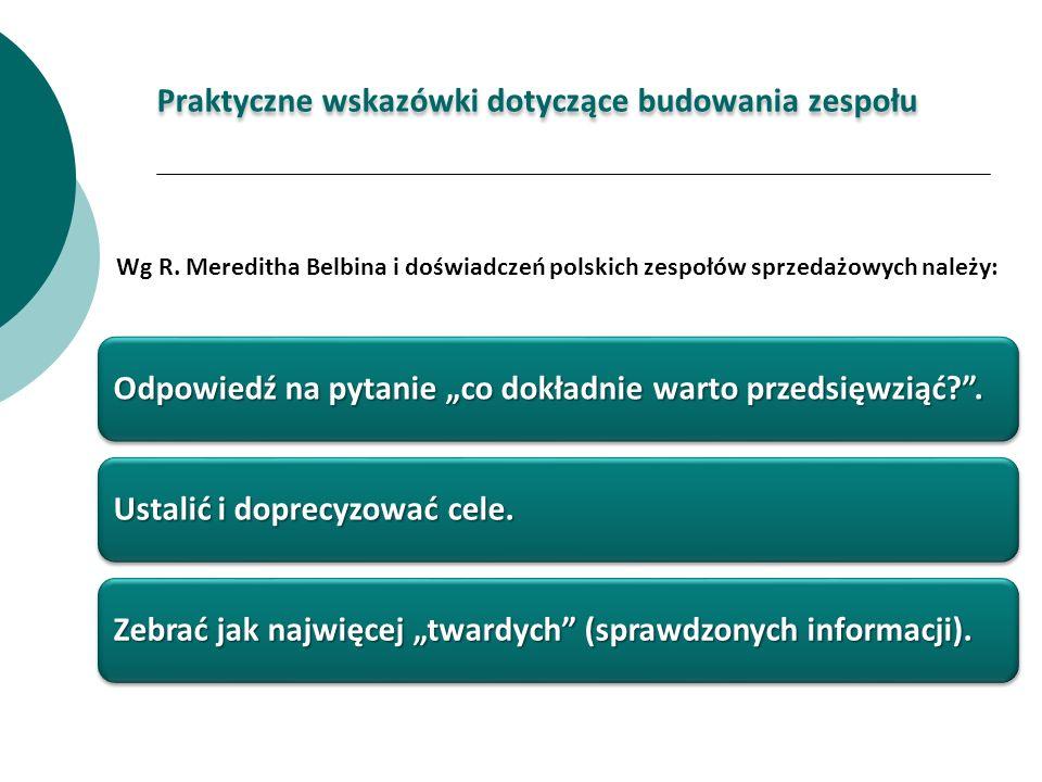 Wg R. Mereditha Belbina i doświadczeń polskich zespołów sprzedażowych należy: Praktyczne wskazówki dotyczące budowania zespołu Odpowiedź na pytanie co