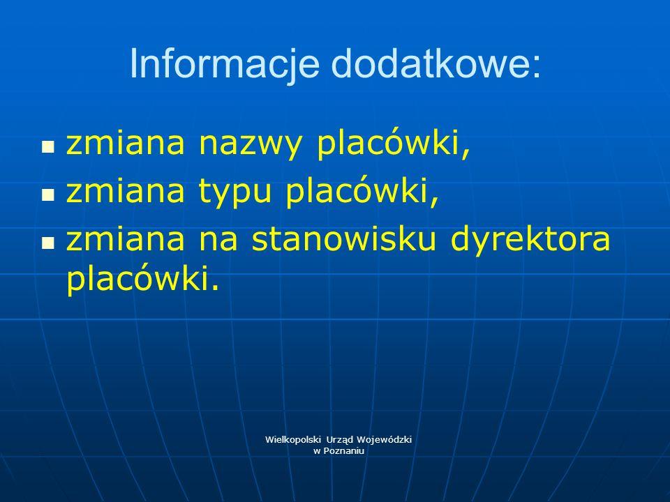Informacje dodatkowe: zmiana nazwy placówki, zmiana typu placówki, zmiana na stanowisku dyrektora placówki. Wielkopolski Urząd Wojewódzki w Poznaniu