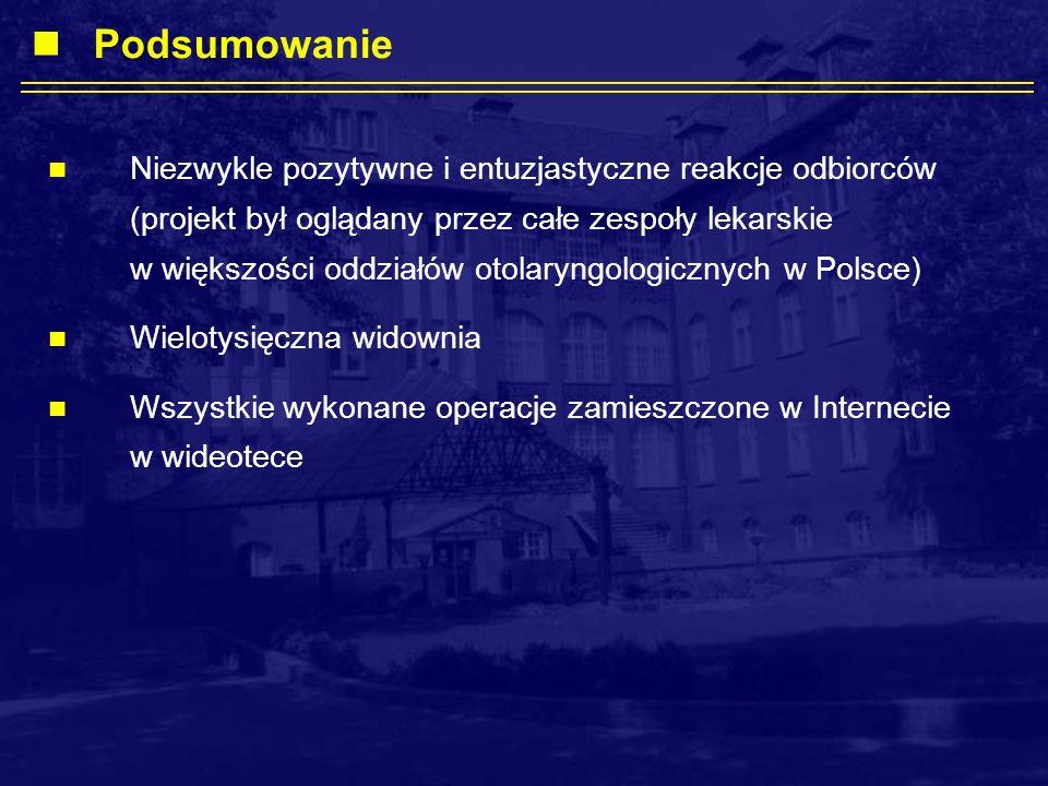 Niezwykle pozytywne i entuzjastyczne reakcje odbiorców (projekt był oglądany przez całe zespoły lekarskie w większości oddziałów otolaryngologicznych w Polsce) Wielotysięczna widownia Wszystkie wykonane operacje zamieszczone w Internecie w wideotece Podsumowanie