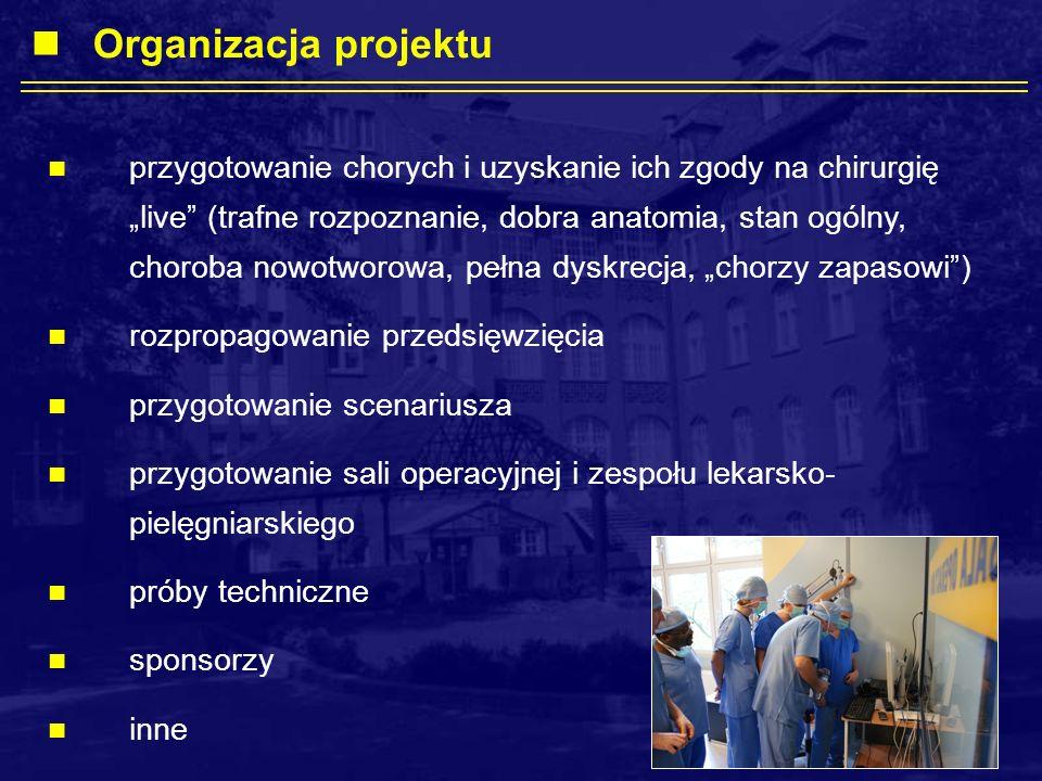 przygotowanie chorych i uzyskanie ich zgody na chirurgię live (trafne rozpoznanie, dobra anatomia, stan ogólny, choroba nowotworowa, pełna dyskrecja, chorzy zapasowi) rozpropagowanie przedsięwzięcia przygotowanie scenariusza przygotowanie sali operacyjnej i zespołu lekarsko- pielęgniarskiego próby techniczne sponsorzy inne Organizacja projektu
