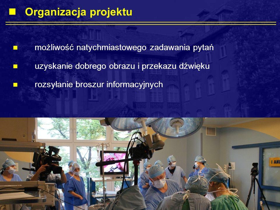 możliwość natychmiastowego zadawania pytań uzyskanie dobrego obrazu i przekazu dźwięku rozsyłanie broszur informacyjnych Organizacja projektu