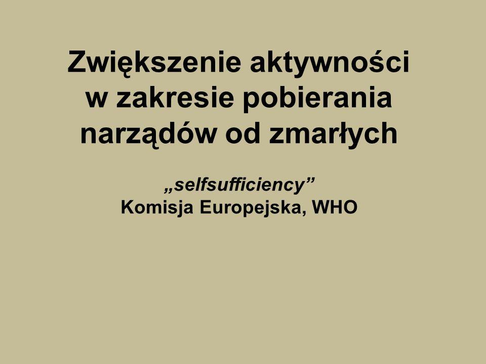 Zwiększenie aktywności w zakresie pobierania narządów od zmarłych selfsufficiency Komisja Europejska, WHO
