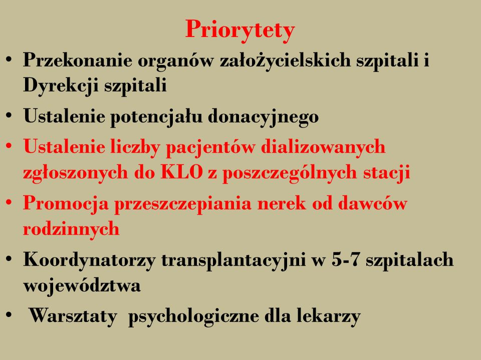 Priorytety Przekonanie organów zało ż ycielskich szpitali i Dyrekcji szpitali Ustalenie potencjału donacyjnego Ustalenie liczby pacjentów dializowanyc