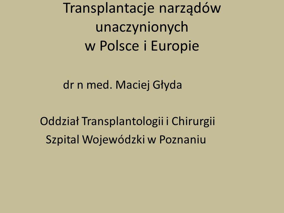 Transplantacje narządów unaczynionych w Polsce i Europie dr n med. Maciej Głyda Oddział Transplantologii i Chirurgii Szpital Wojewódzki w Poznaniu