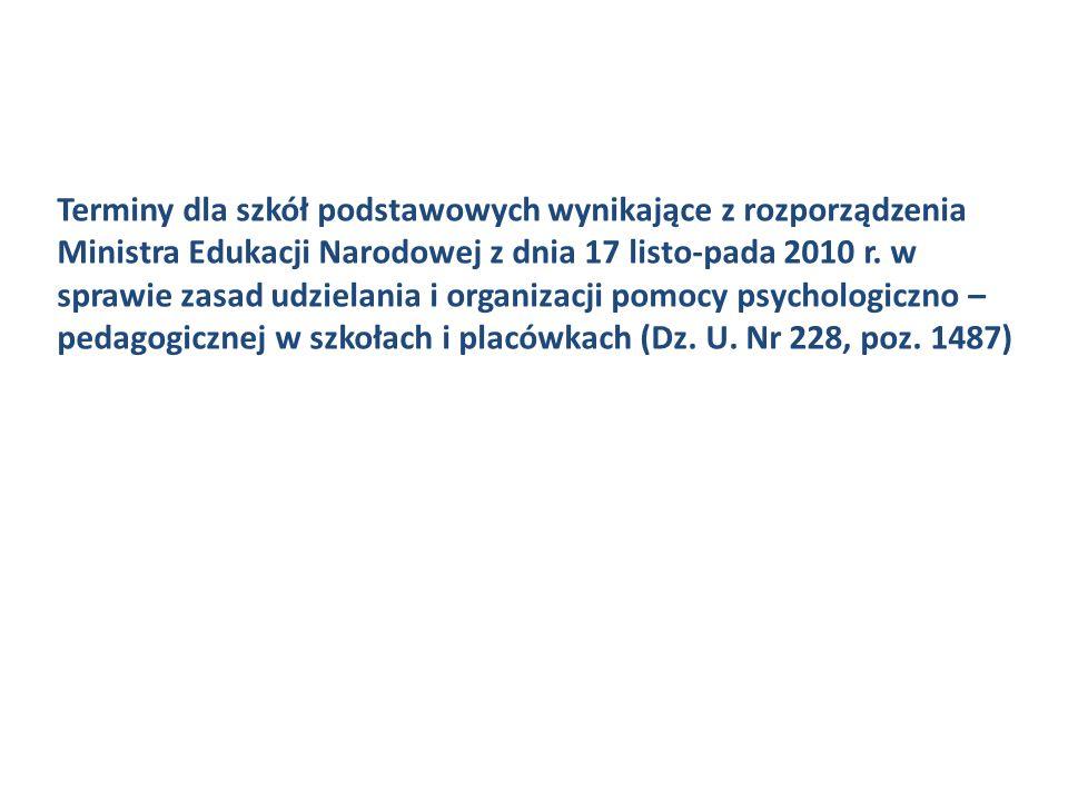 Terminy dla szkół podstawowych wynikające z rozporządzenia Ministra Edukacji Narodowej z dnia 17 listo-pada 2010 r.