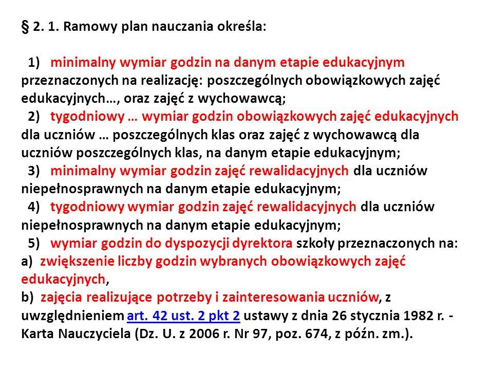 § 2. 1. Ramowy plan nauczania określa: 1) minimalny wymiar godzin na danym etapie edukacyjnym przeznaczonych na realizację: poszczególnych obowiązkowy