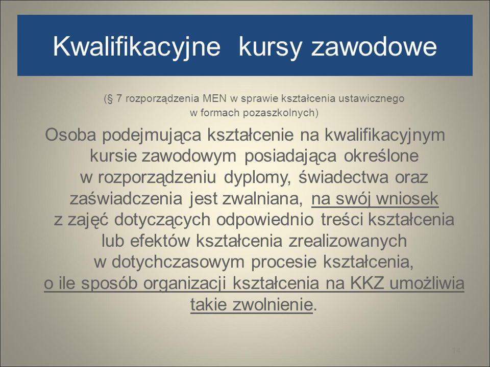 Kwalifikacyjne kursy zawodowe (§ 7 rozporządzenia MEN w sprawie kształcenia ustawicznego w formach pozaszkolnych) Osoba podejmująca kształcenie na kwa