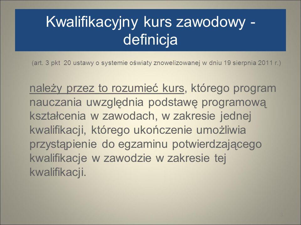 Kwalifikacyjny kurs zawodowy - definicja (art. 3 pkt 20 ustawy o systemie oświaty znowelizowanej w dniu 19 sierpnia 2011 r.) należy przez to rozumieć