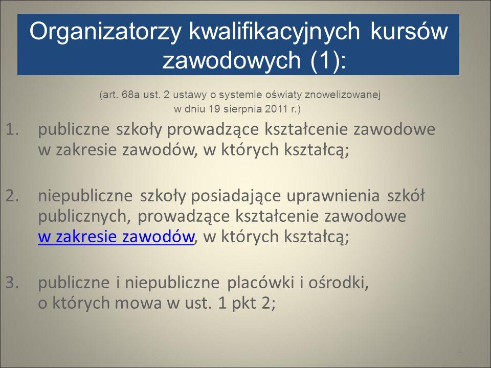 Organizatorzy kwalifikacyjnych kursów zawodowych (1): (art. 68a ust. 2 ustawy o systemie oświaty znowelizowanej w dniu 19 sierpnia 2011 r.) 1.publiczn