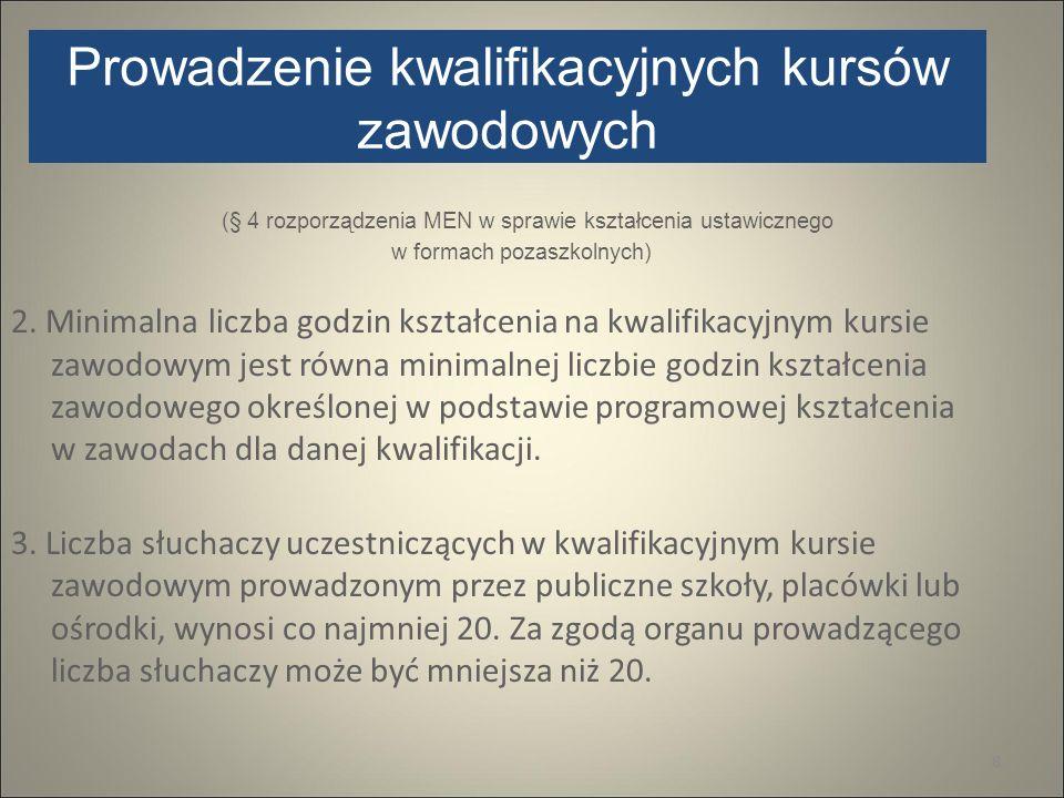 Prowadzenie kwalifikacyjnych kursów zawodowych (§ 4 rozporządzenia MEN w sprawie kształcenia ustawicznego w formach pozaszkolnych) 2. Minimalna liczba