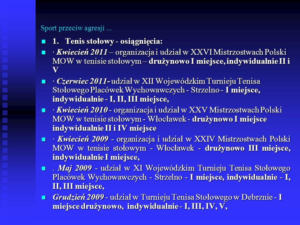 Sport przeciw agresji... 1. Tenis stołowy - osiągnięcia: 1. Tenis stołowy - osiągnięcia: · Kwiecień 2011 – organizacja i udział w XXVI Mistrzostwach P