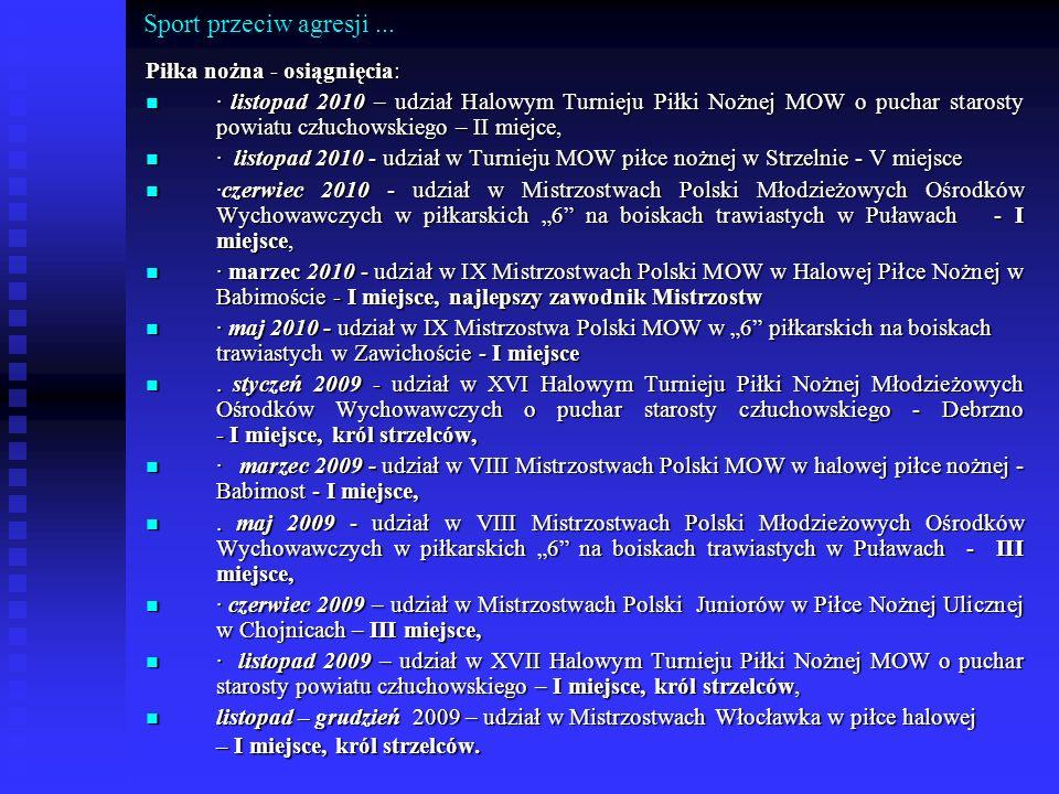 Sport przeciw agresji... Piłka nożna - osiągnięcia: · listopad 2010 – udział Halowym Turnieju Piłki Nożnej MOW o puchar starosty powiatu człuchowskieg