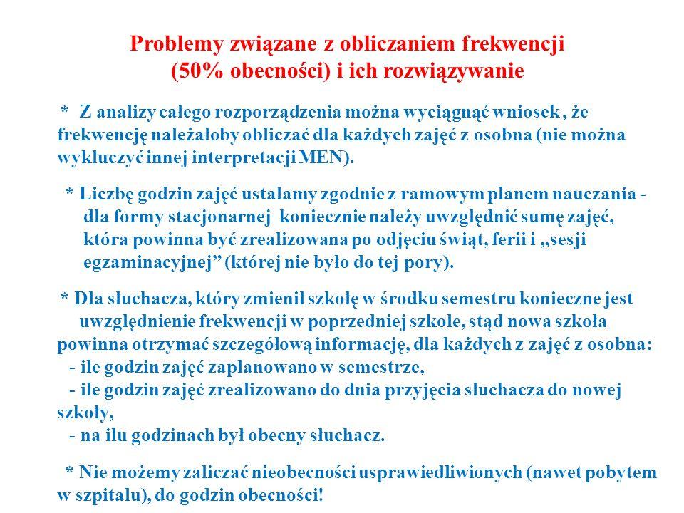 Problemy związane z obliczaniem frekwencji (50% obecności) i ich rozwiązywanie * Z analizy całego rozporządzenia można wyciągnąć wniosek, że frekwencj