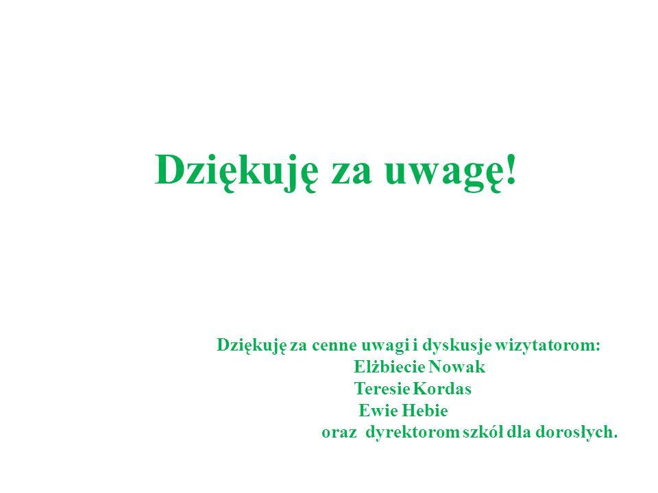 Dziękuję za uwagę! Dziękuję za cenne uwagi i dyskusje wizytatorom: Elżbiecie Nowak Teresie Kordas Ewie Hebie oraz dyrektorom szkół dla dorosłych.