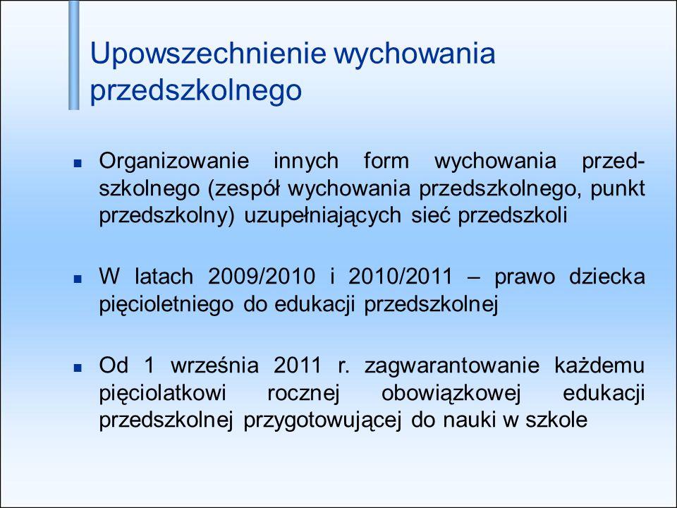 Organizowanie innych form wychowania przed- szkolnego (zespół wychowania przedszkolnego, punkt przedszkolny) uzupełniających sieć przedszkoli W latach 2009/2010 i 2010/2011 – prawo dziecka pięcioletniego do edukacji przedszkolnej Od 1 września 2011 r.