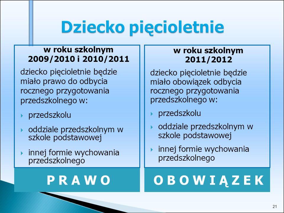 21 Dziecko pięcioletnie P R A W OO B O W I Ą Z E K w roku szkolnym 2009/2010 i 2010/2011 dziecko pięcioletnie będzie miało prawo do odbycia rocznego przygotowania przedszkolnego w: przedszkolu oddziale przedszkolnym w szkole podstawowej innej formie wychowania przedszkolnego w roku szkolnym 2011/2012 dziecko pięcioletnie będzie miało obowiązek odbycia rocznego przygotowania przedszkolnego w: przedszkolu oddziale przedszkolnym w szkole podstawowej innej formie wychowania przedszkolnego