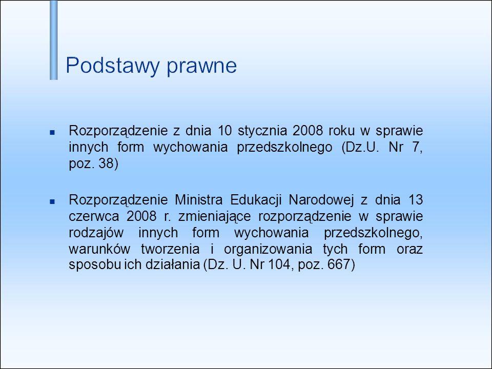 Rozporządzenie z dnia 10 stycznia 2008 roku w sprawie innych form wychowania przedszkolnego (Dz.U. Nr 7, poz. 38) Rozporządzenie Ministra Edukacji Nar