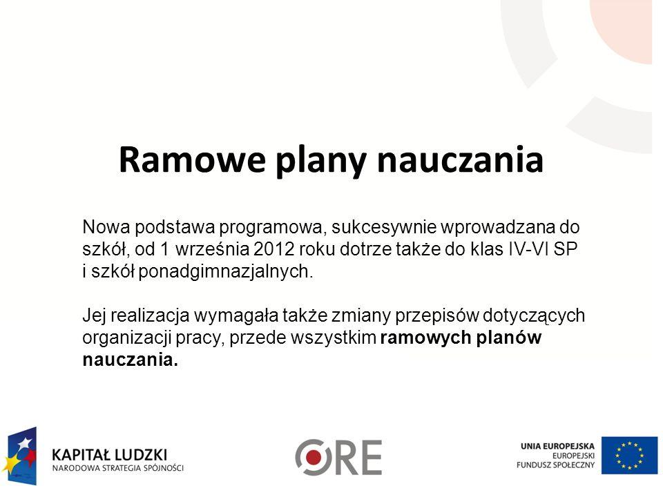 Ramowe plany nauczania Nowa podstawa programowa, sukcesywnie wprowadzana do szkół, od 1 września 2012 roku dotrze także do klas IV-VI SP i szkół ponadgimnazjalnych.