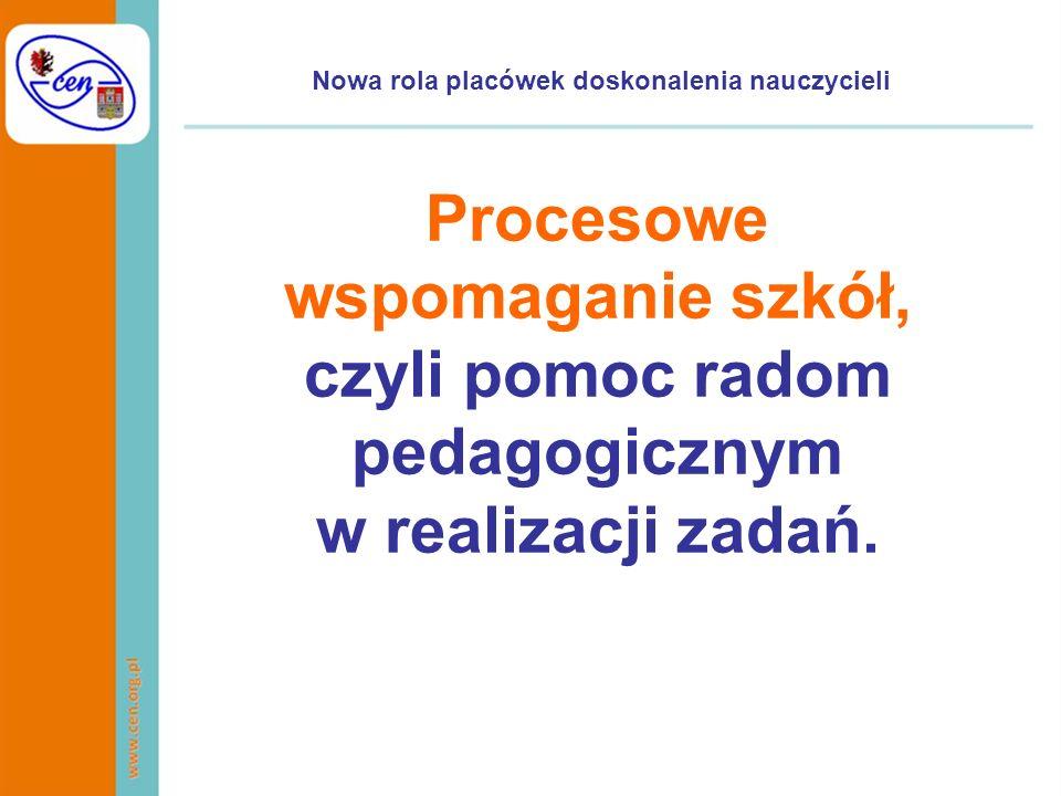 Nowa rola placówek doskonalenia nauczycieli Procesowe wspomaganie szkół, czyli pomoc radom pedagogicznym w realizacji zadań.