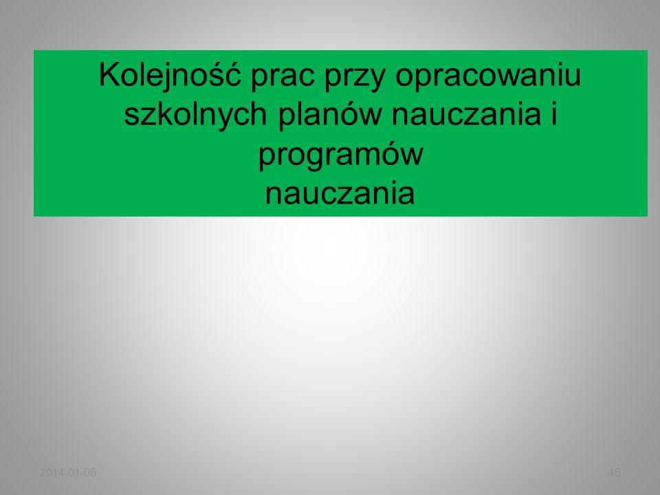 2014-01-0848 Kolejność prac przy opracowaniu szkolnych planów nauczania i programów nauczania