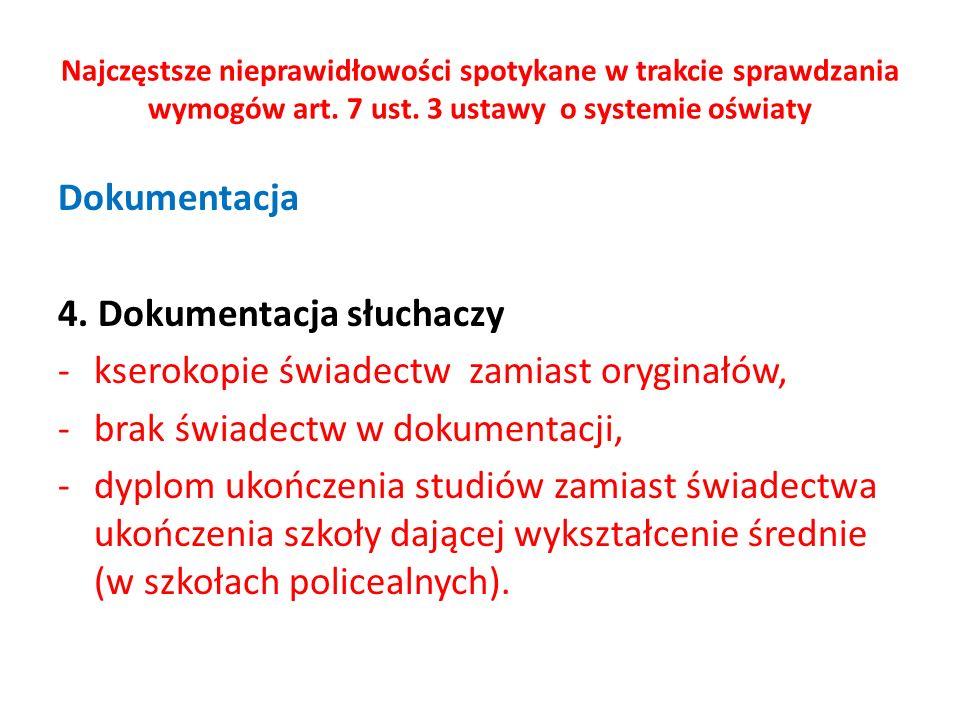 Najczęstsze nieprawidłowości spotykane w trakcie sprawdzania wymogów art. 7 ust. 3 ustawy o systemie oświaty Dokumentacja 4. Dokumentacja słuchaczy -k