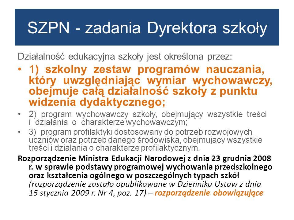 Działalność edukacyjna szkoły jest określona przez: 1) szkolny zestaw programów nauczania, który uwzględniając wymiar wychowawczy, obejmuje całą dział