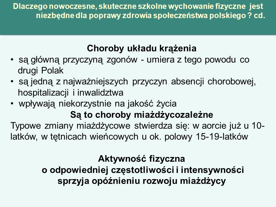 Dlaczego nowoczesne, skuteczne szkolne wychowanie fizyczne jest niezbędne dla poprawy zdrowia społeczeństwa polskiego ? cd. Choroby układu krążenia są