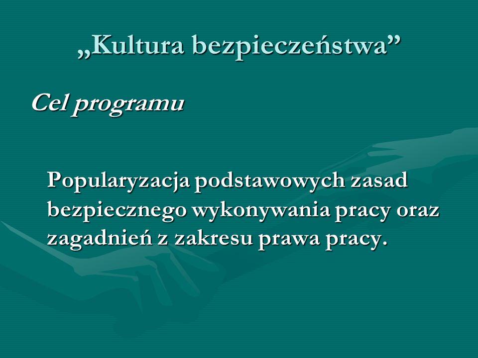 Kultura bezpieczeństwa Cel programu Popularyzacja podstawowych zasad bezpiecznego wykonywania pracy oraz zagadnień z zakresu prawa pracy.