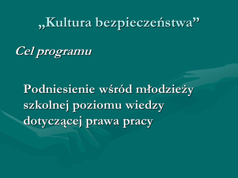 Kultura bezpieczeństwa Cel programu Podniesienie wśród młodzieży szkolnej poziomu wiedzy dotyczącej prawa pracy