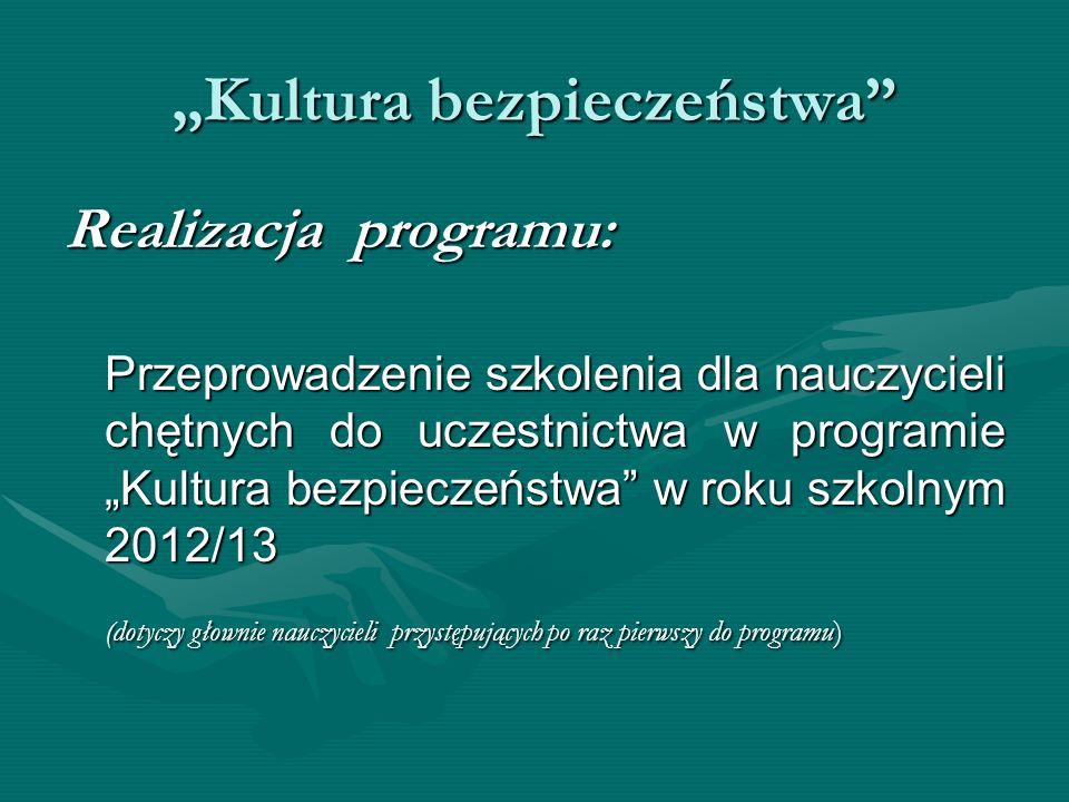 Kultura bezpieczeństwa Realizacja programu: Przeprowadzenie szkolenia dla nauczycieli chętnych do uczestnictwa w programie Kultura bezpieczeństwa w ro