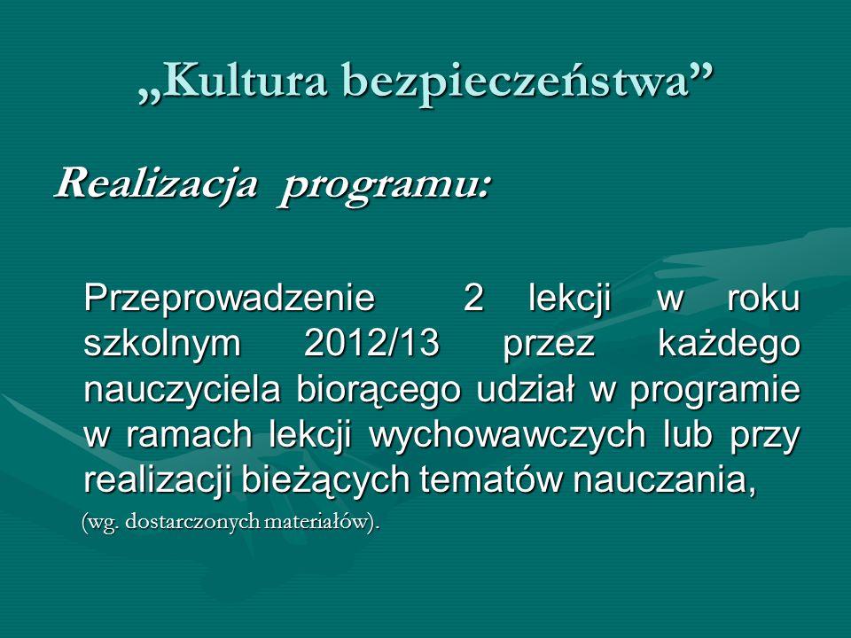 Kultura bezpieczeństwa Realizacja programu: Przeprowadzenie 2 lekcji w roku szkolnym 2012/13 przez każdego nauczyciela biorącego udział w programie w