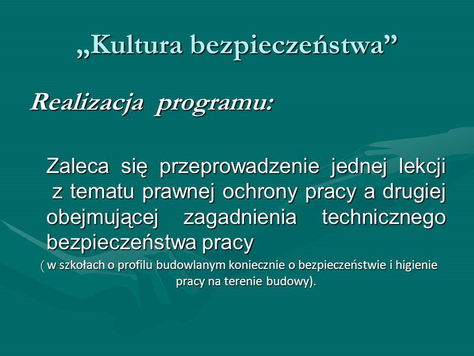 Kultura bezpieczeństwa Realizacja programu: Zaleca się przeprowadzenie jednej lekcji z tematu prawnej ochrony pracy a drugiej obejmującej zagadnienia