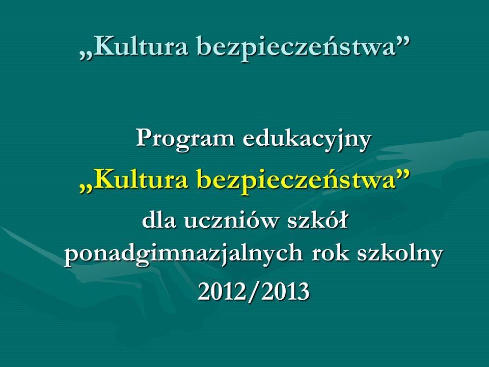 Kultura bezpieczeństwa Program edukacyjny Kultura bezpieczeństwa dla uczniów szkół ponadgimnazjalnych rok szkolny 2012/2013